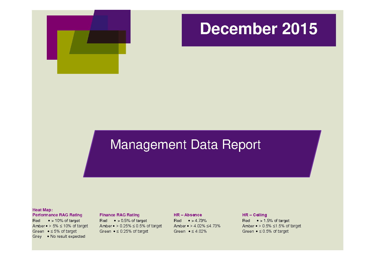 December 2015 Management Data Report front page preview