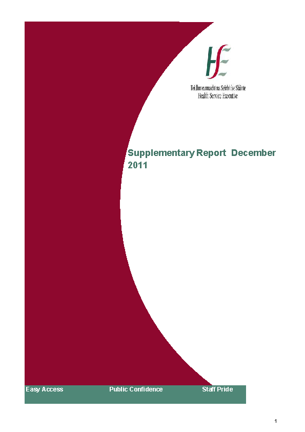 December 2011 Supplementary Report front page preview