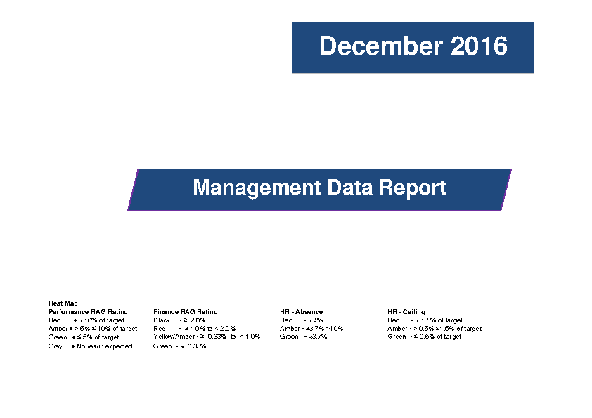 December 2016 Management Data Report front page preview