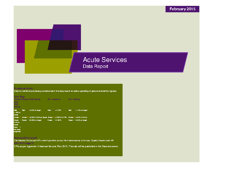 February 2015 Acute Services Data Report front page preview