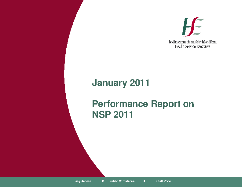 January 2011 Performance Report front page preview