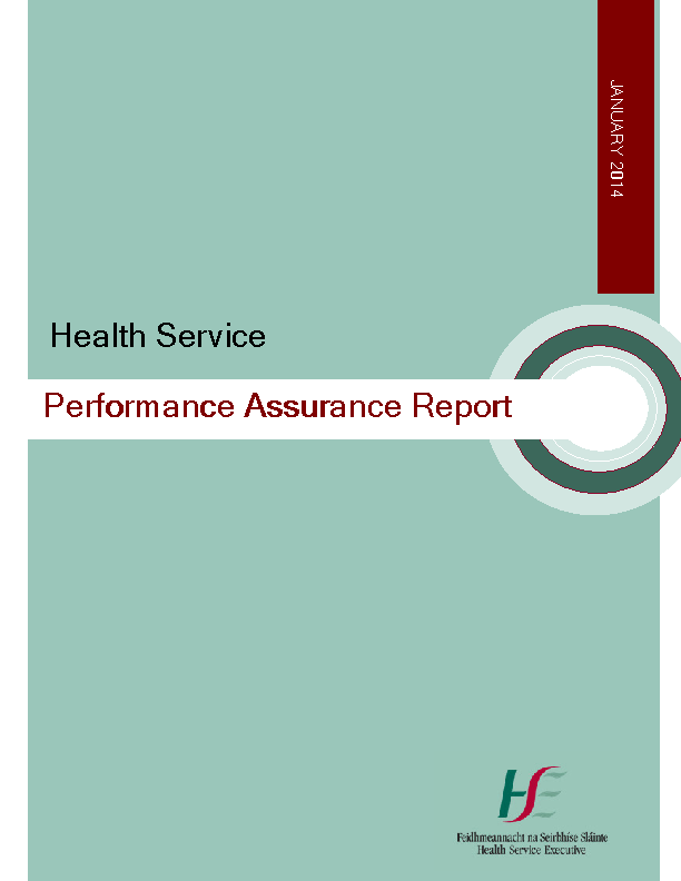 January 2014 Performance Assurance Report front page preview