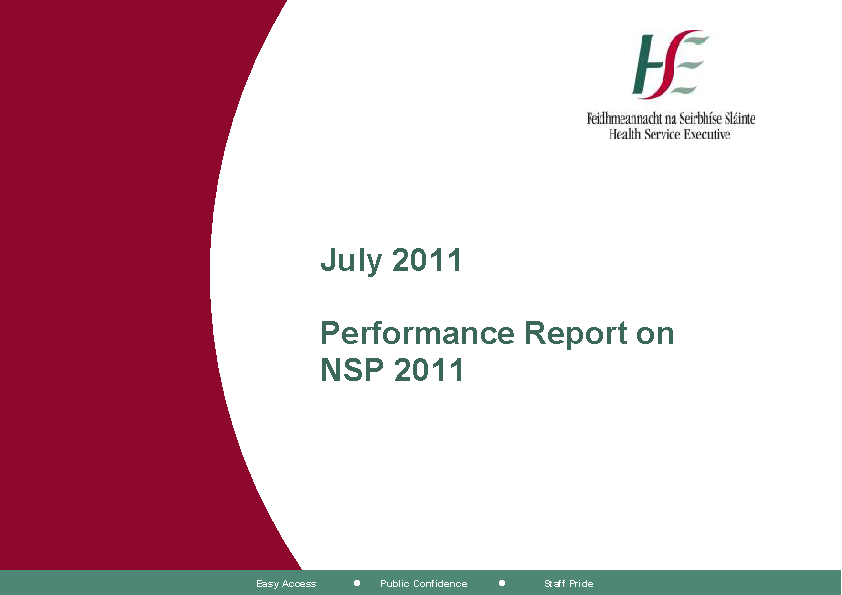 July 2011 Performance Report front page preview