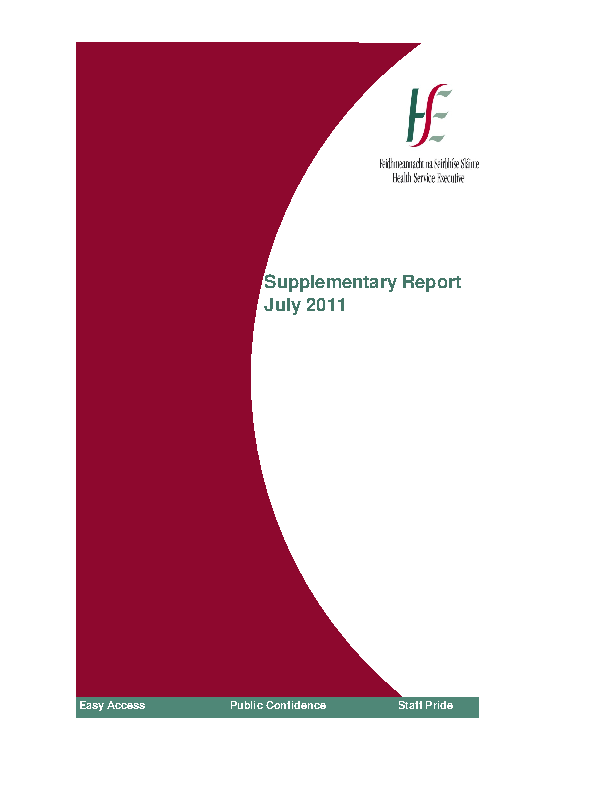 July 2011 Supplementary Report front page preview
