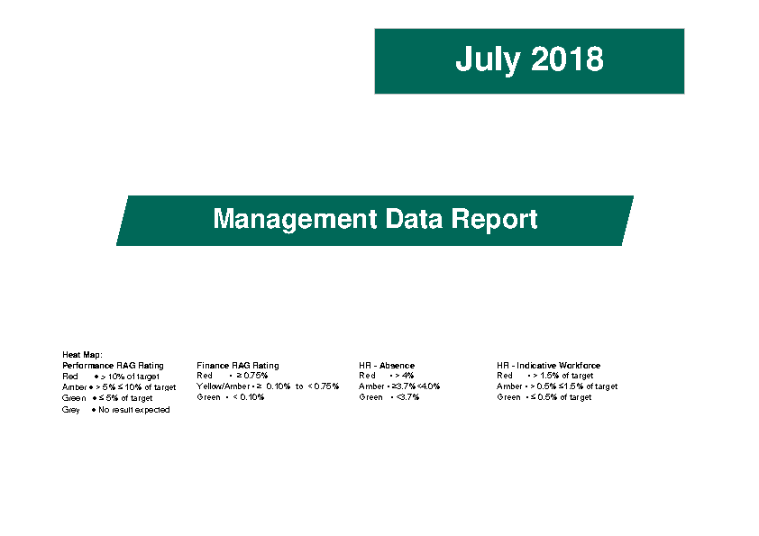 July 2018 Management Data Report front page preview image