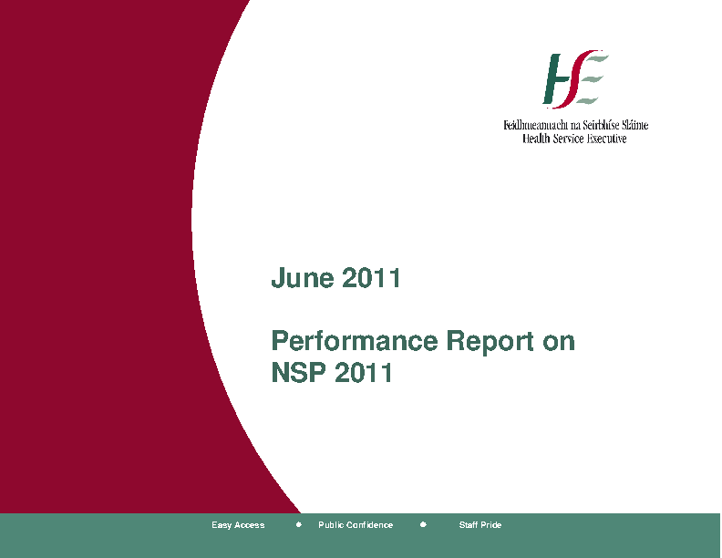 June 2011 Performance Report front page preview