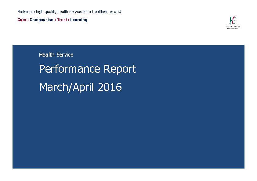 March April 2016 Performance Report front page preview