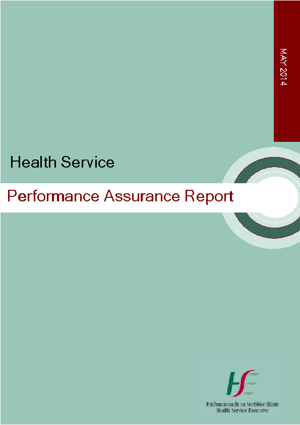 May 2014 Performance Assurance Report front page preview