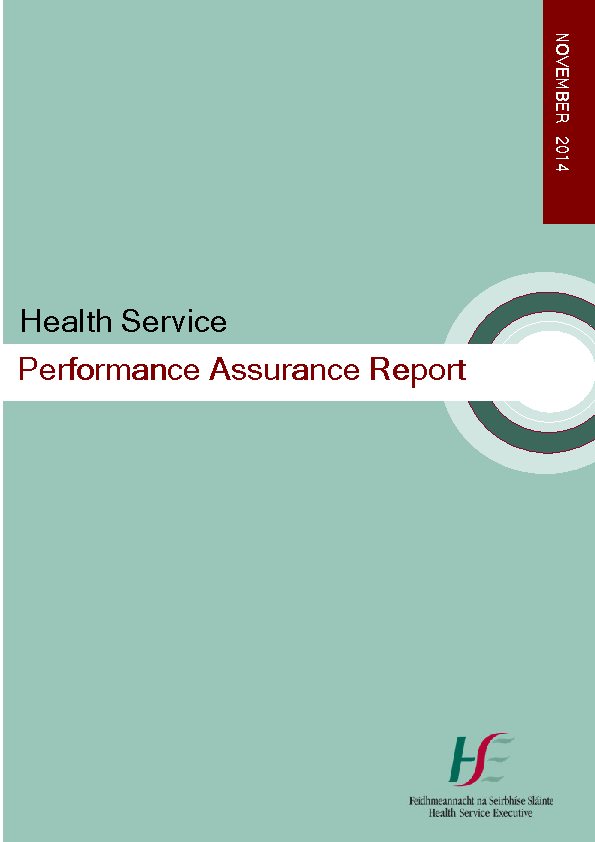November 2014 Performance Assurance Report front page preview