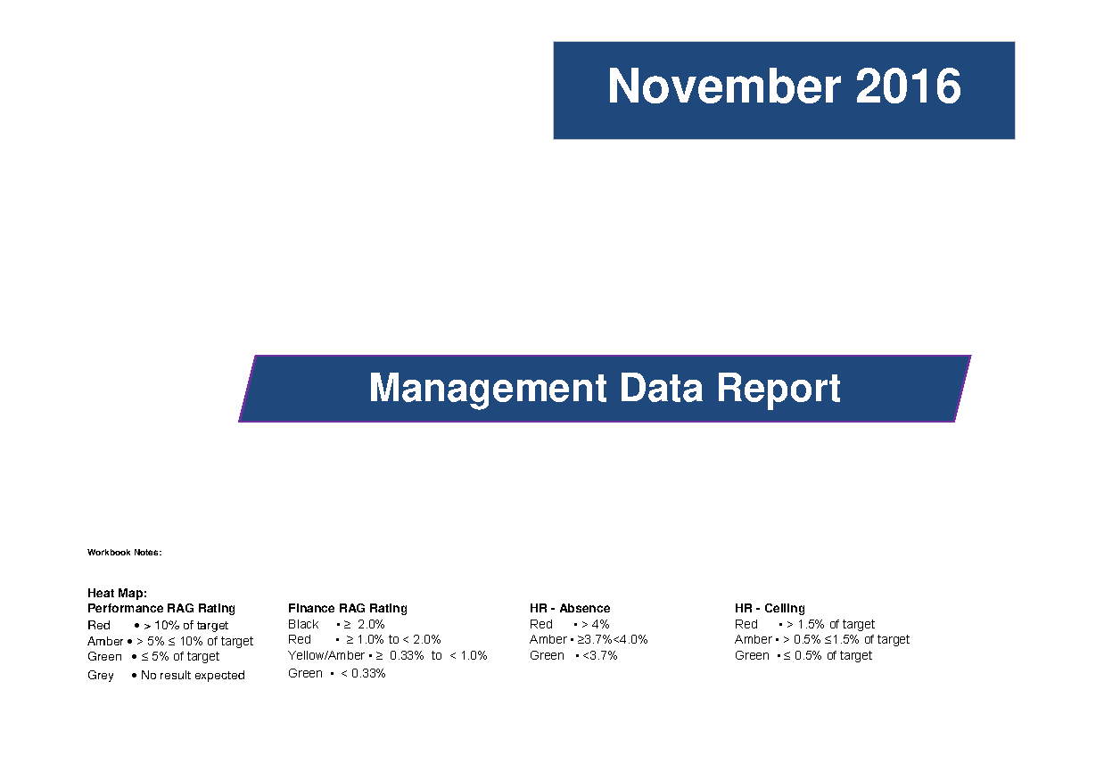 November 2016 Management Data Report front page preview