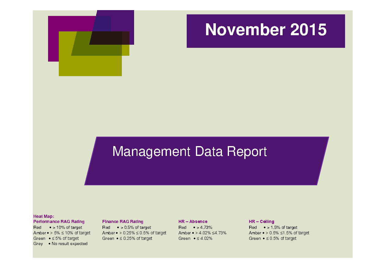 November 2015 Management Data Report front page preview