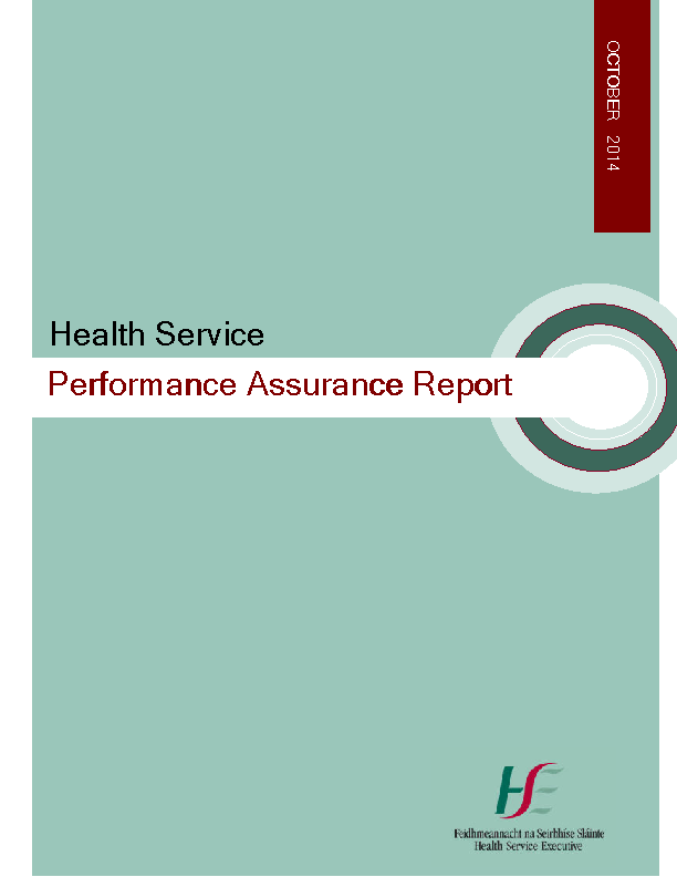 October 2014 Performance Assurance Report front page preview