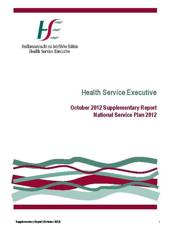 October 2012 Supplementary Report front page preview