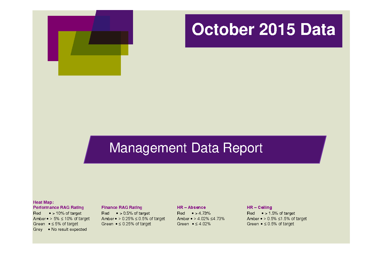 October 2015 Management Data Report front page preview