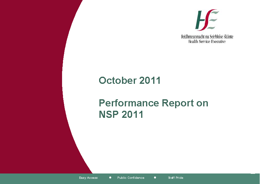 October 2011 Performance Report front page preview