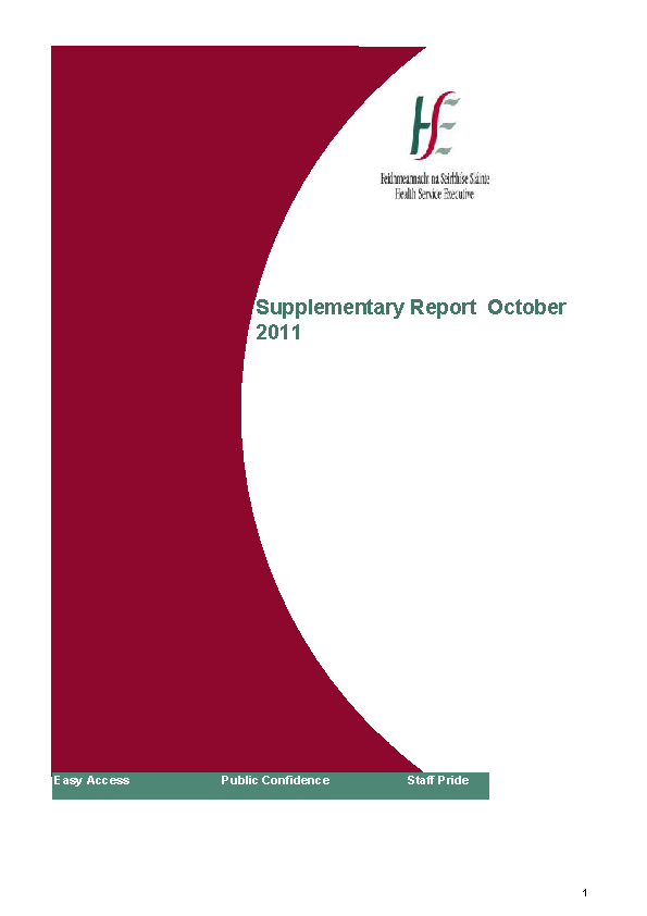 October 2011 Supplementary Report front page preview