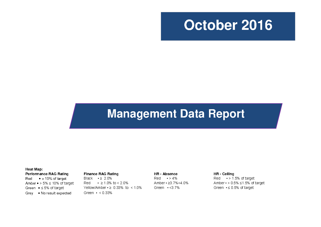 October 2016 Management Data Report front page preview