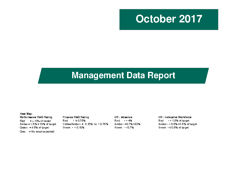 October 2017 Management Data Report front page preview