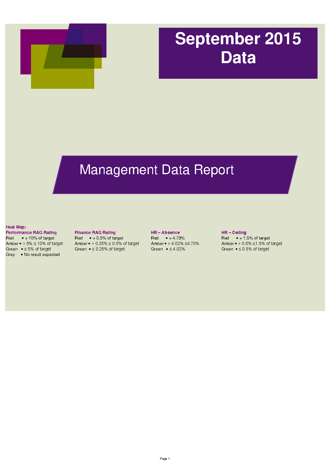 September 2015 Management Data Report front page preview