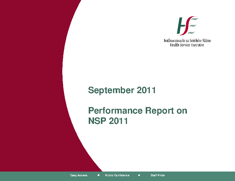 September 2011 Performance Report front page preview