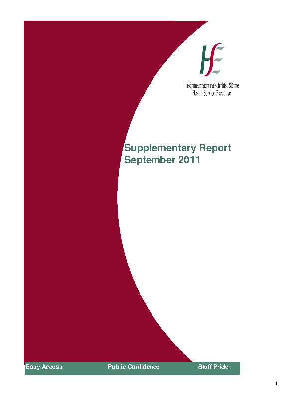 September 2011 Supplementary Report front page preview