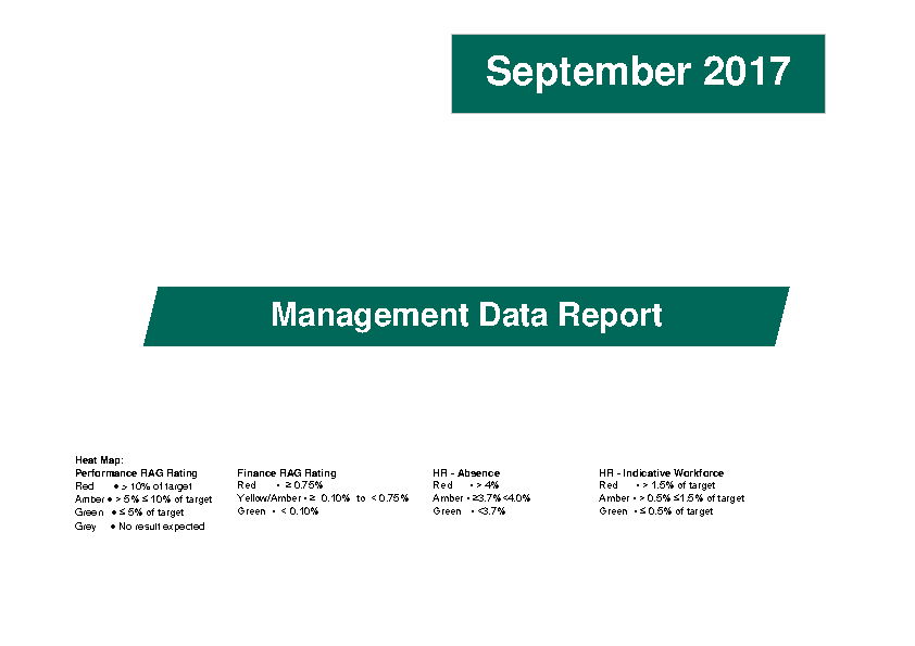 September 2017 Management Data Report front page preview image