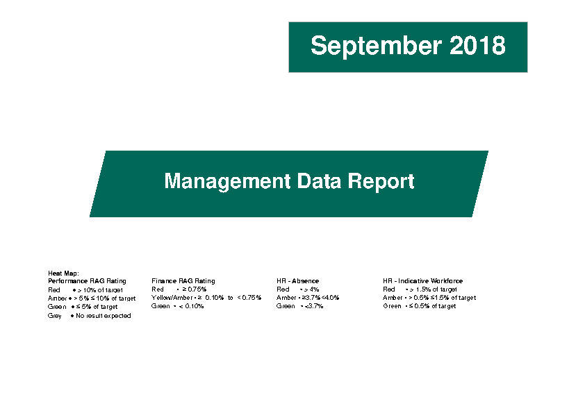September 2018 Management Data Report front page preview image