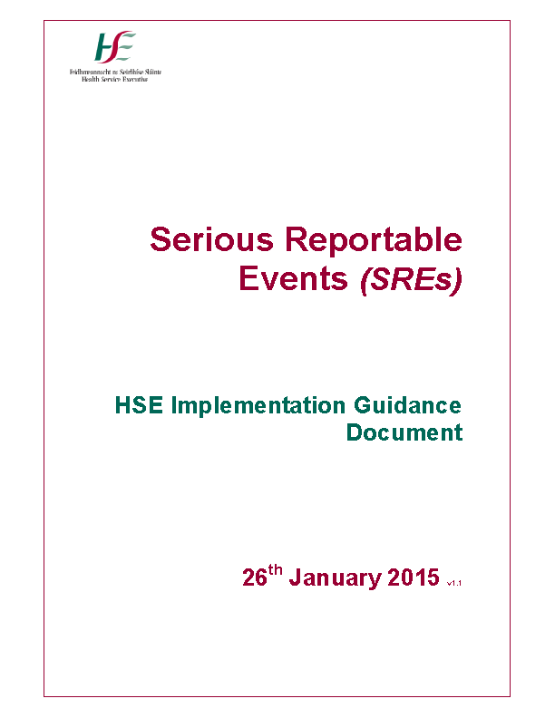 SRE Guidance January 2015 front page preview