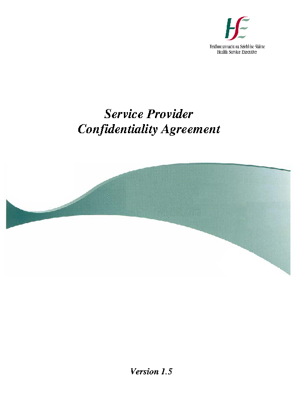 HSE Service Provider Confidentiality Agreement v1.5 front page preview image