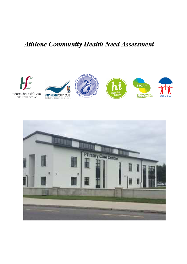 Athlone Community Health Needs Assessment front page preview image