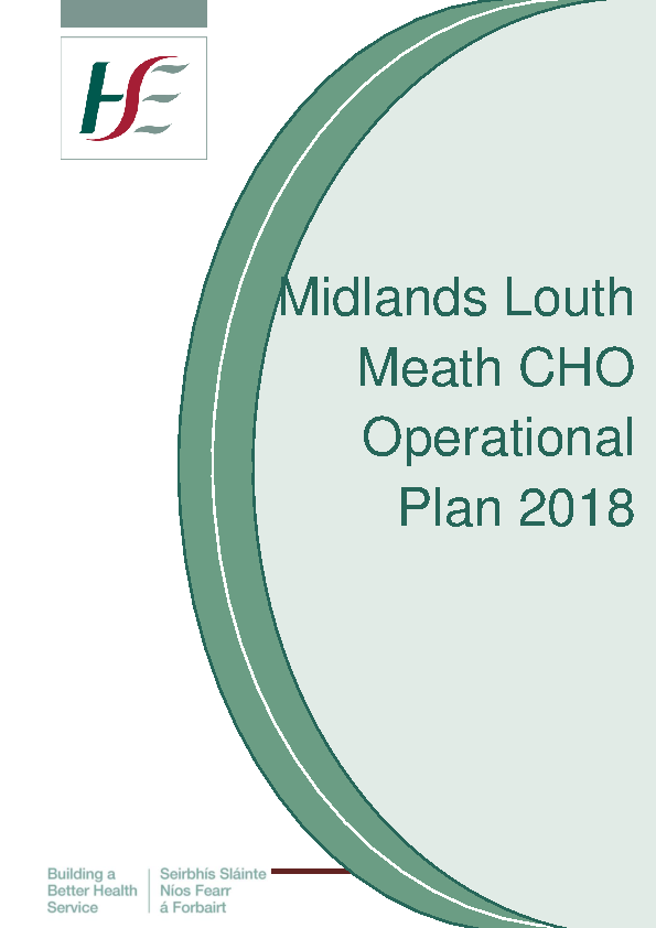 CHO8 Midlands Louth Meath Operational Plan 2018 front page preview image