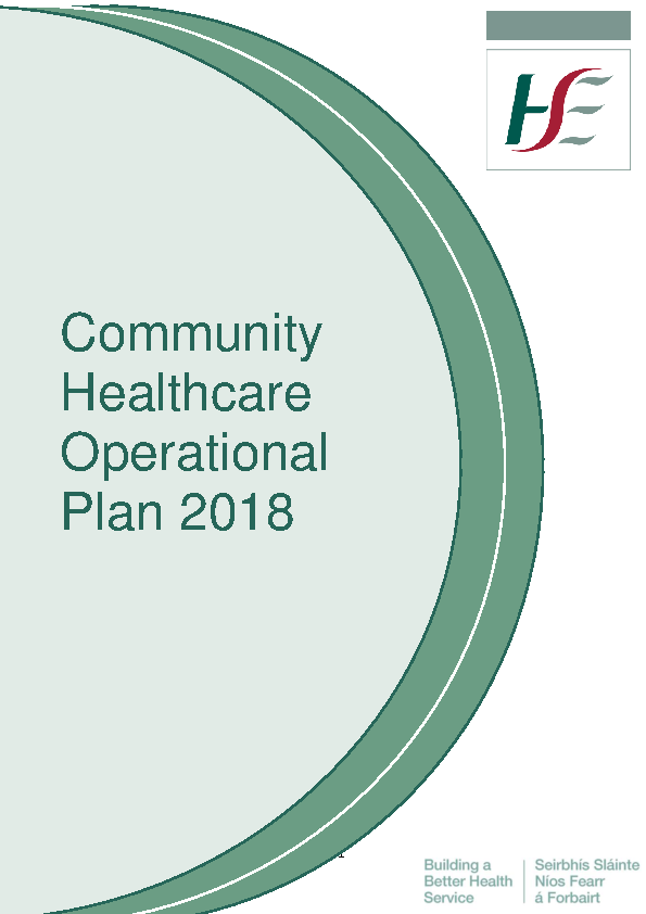 Community Healthcare Operational Plan for 2018 front page preview image