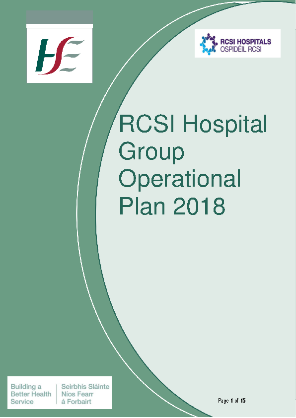 RCSI Hospital Group Operational Plan 2018 front page preview image