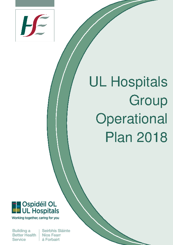 University of Limerick Hospital Group Operational Plan 2018 front page preview image