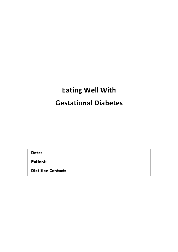 Eating Well With Gestational Diabetes front page preview image