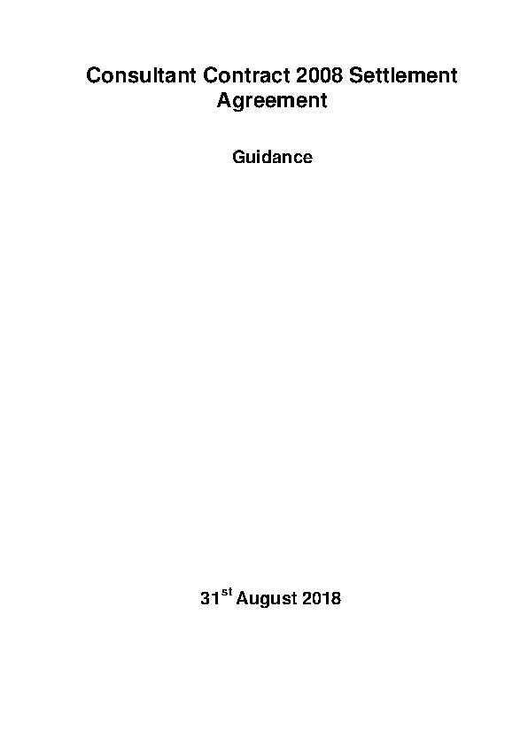 Consultant Contract 2008 settlement agreement Guidance front page preview