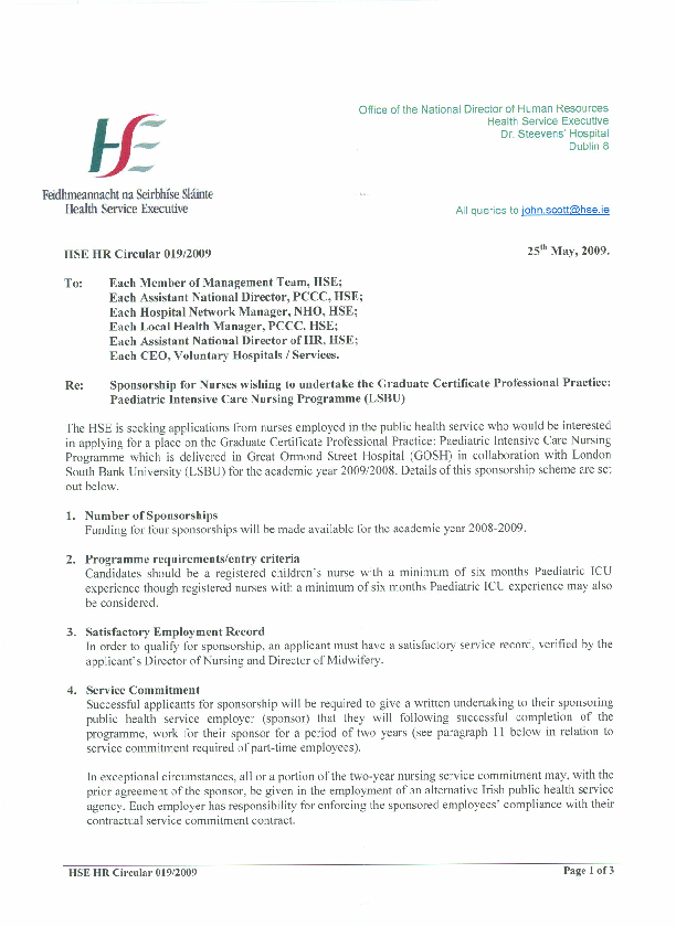 HSE HR Circular 019/2009 regarding Sponsorship for nurses wishing to undertake the Graduate Certificate Professional Practice front page preview