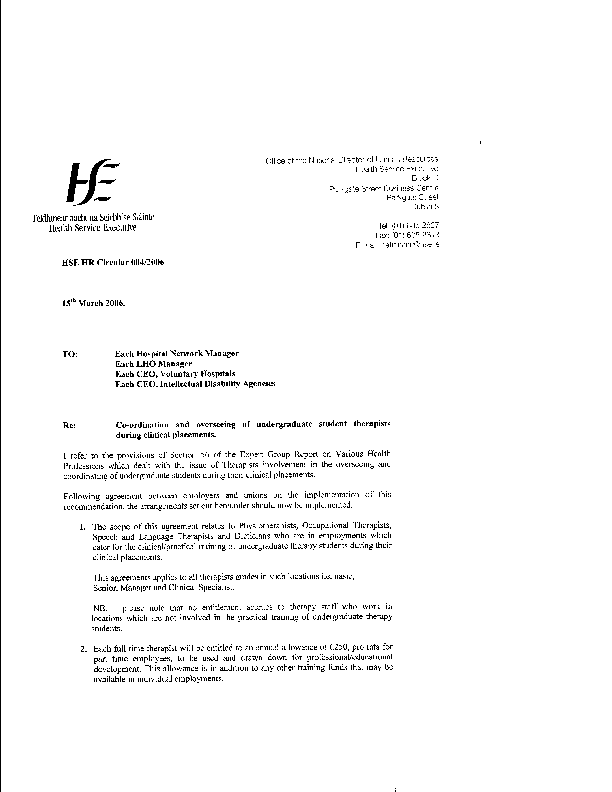 HSE HR Circular 004/2006 re Co-ordination and overseeing of undergraduate student therapists during clinical placements front page preview