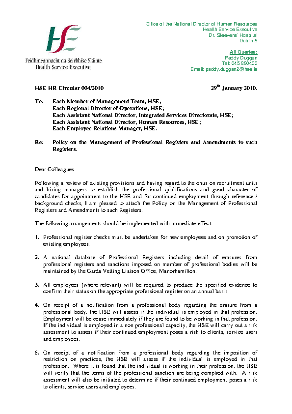 HSE HR Circular 004/2010 re Policy on the Management of Professional Registers and Amendments to such Registers front page preview