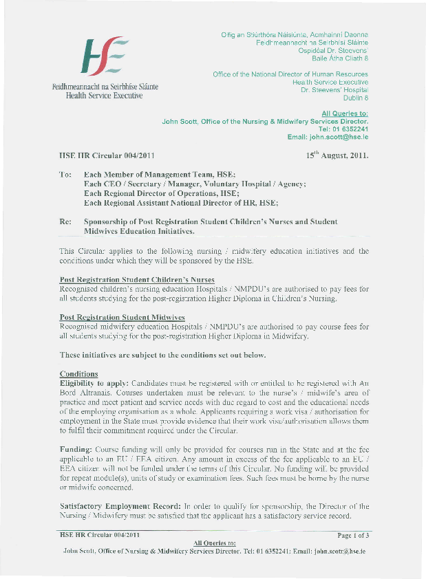 HSE HR Circular 004/2011 re Sponsorship of Post Registration Student Children's Nurses and Student Midwives Education Initiatives front page preview