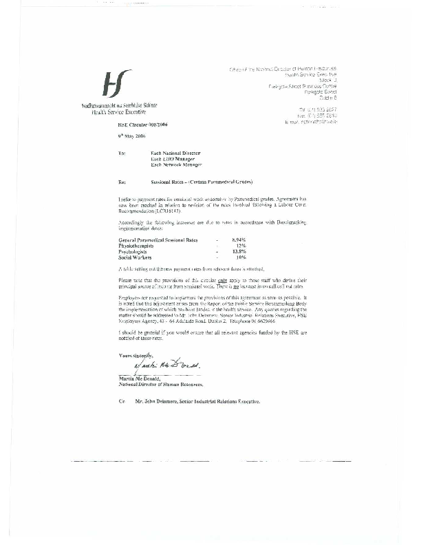 HSE HR Circular 008/2006 re Sessional Rates - (Certain Paramedical Grades) front page preview