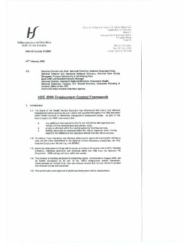 HSE HR Circular 01/2006 re HSE 2006 Employment Control Framework front page preview