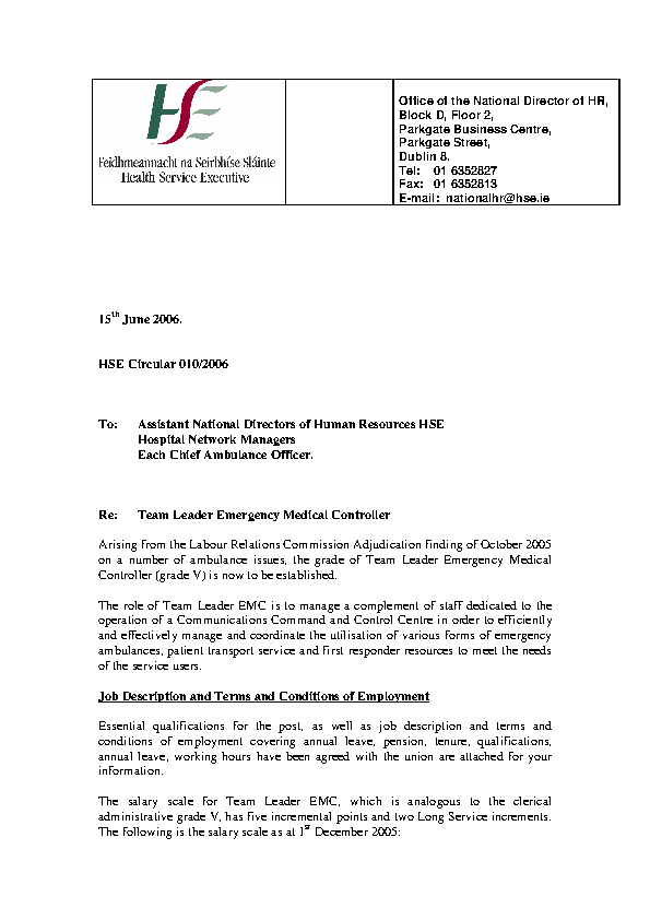 HSE HR Circular 010/2006 re Team Leader Emergency Medical Controller front page preview