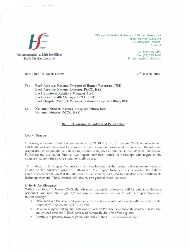 HSE HR Circular 011/2009 re Allowance for Advanced Paramedics front page preview