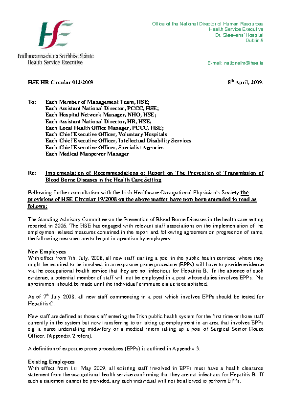HSE HR Circular 012/2009 re Implementation of Recommendations of Report on the Prevention of Transmission of Blood Borne Diseases in the Health Care Setting front page preview