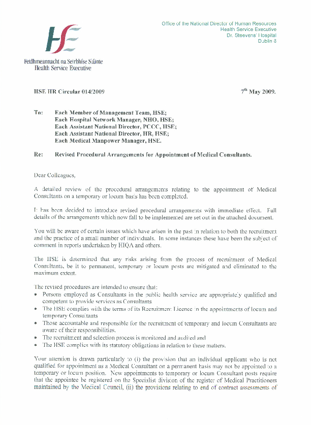 HSE HR Circular 014/2009 re Revised Procedural Arrangements for Appointment of Medical Consultants front page preview