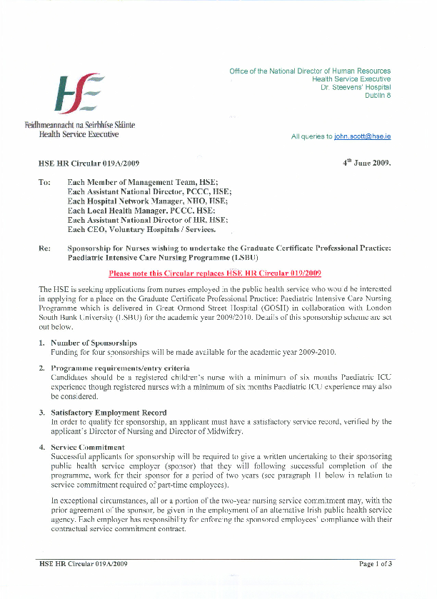 HSE HR Circular 019A/2009 Sponsorship for Nurses wishing to undertake the Graduate Certificate Professional Practice: Paediatric Intensive Care Nursing Programme (LSBU) front page preview