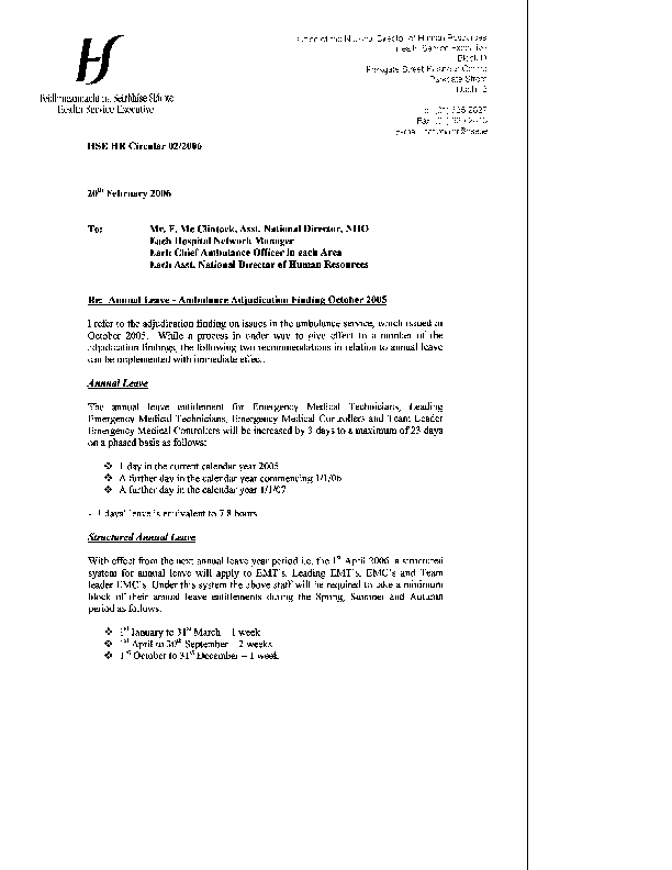 HSE HR Circular 02/2006 re Annual Leave - Ambulance Adjudication Finding October 2005 front page preview