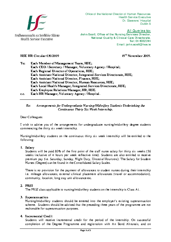 HSE HR Circular 030/2009 - Arrangements for Undergraduate Nursing/Midwifery Students undertaking the continuous thirty six week internship front page preview