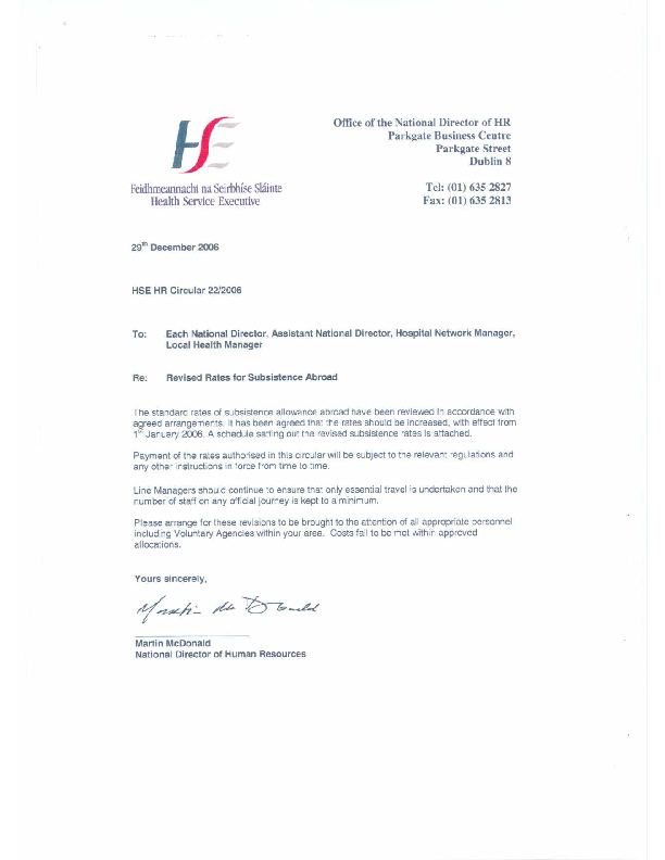 HSE HR Circular 22/2006 re Revised Rates for Subsistence Abroad front page preview